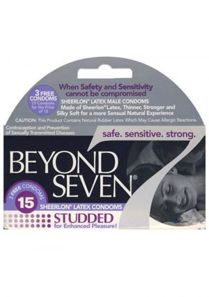 Beyond Seven Condom Studded Lightly Lubricated Blue Tinted 12 Pack