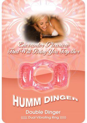 Humm Dinger Double Dinger Dual Vibrating Cock Ring Magenta