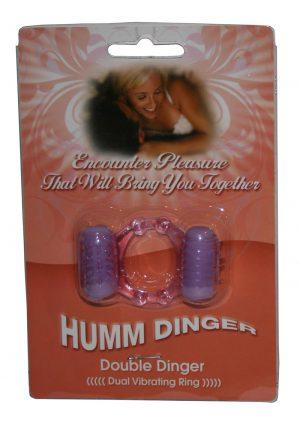 Humm Dinger Double Dinger Dual Vibrating Cockring Purple