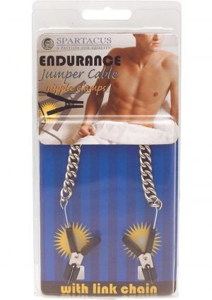 Endurance Jumper Cable Nipple Clamps With Link Chain Silver