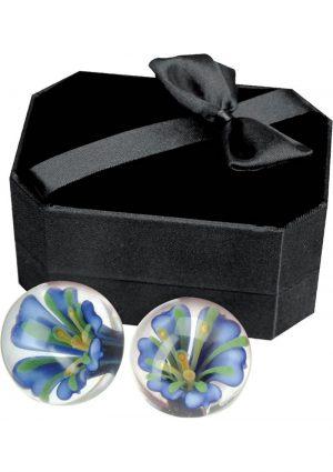 Adam And Eve Glass Ben Wa Balls Blue Blossom Waterproof