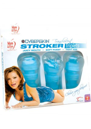 Adam And Eve CyberSkin Translucent Stroker Triplets Set Of 3 Blue