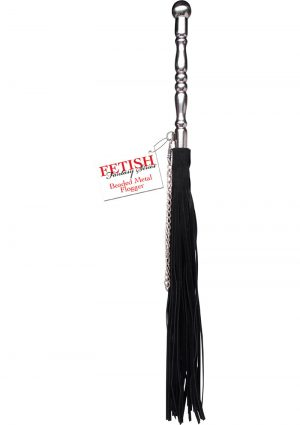 Fetish Fantasy Series Beaded Metal Flogger Black