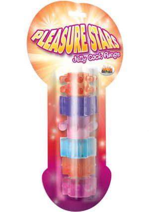 Pleasure Stars Jelly Cock Rings 6 Pack Assorted Colors