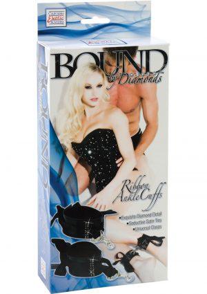 Bound By Diamonds Ribbon Ankle Cuffs Black