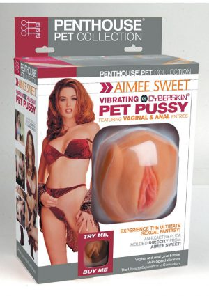 Penthouse Pet Aimee Sweet Vibrating Cyberskin Pet Pussy And Ass Masturbator Waterproof Natural