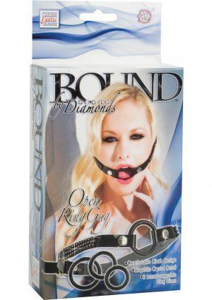 Bound By Diamonds Open Ring Gag Black