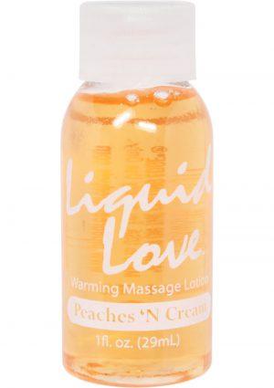 Liquid Love Warming Massage Lotion Peaches N Cream 1 Ounce