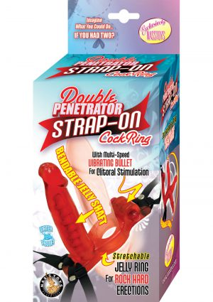 Double Penetrator Strap On Cock Ring Waterproof Red