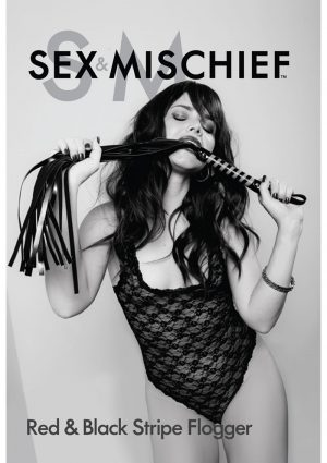 Sex and Mischief Red And Black Stripe Flogger