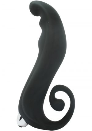 The Velvet Kiss I Swirl Silicone Strapless Strap On With Removable Bullet 6.25 Inch Black