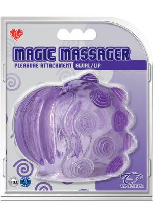 Magic Massager Swirl And Lip Pleasure Attachment Waterproof Purple