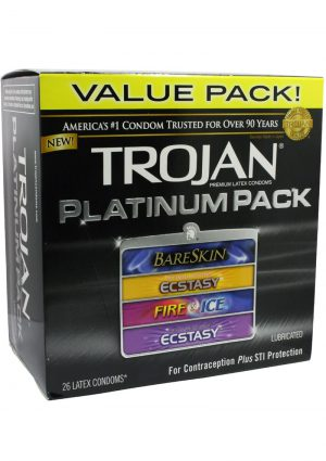 Trojan Platinum Pack Latex Condoms 26 Per Pack