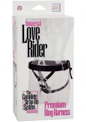 Universal Love Rider Premium Ring Harness Adjustable Strap On System Accessory PVC Black