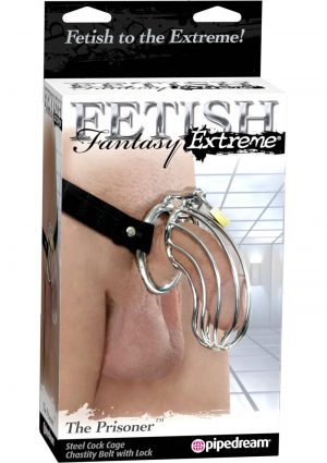 Fetish Fantasy Extreme The Prisoner Steel Cock Cage Chastity Belt With Lock