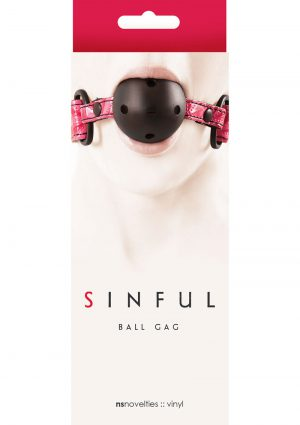 Sinful Vinyl Ball Gag Pink Adjustable