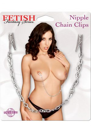 Fetish Fantasy Nipple Chain Clips Silver
