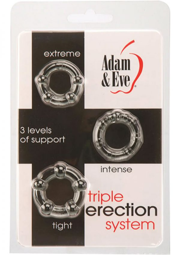 Adam and Eve Triple Erection System Jelly Cockring Set 3 Each