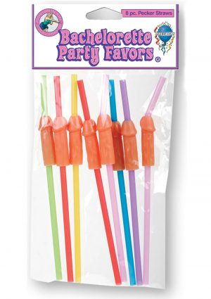 Bachelorette Party Favors Pecker Straws 8 Pack Assorted Colors