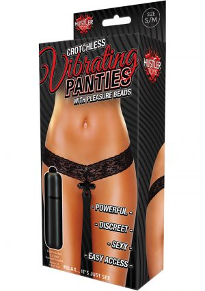 Hustler Toys Crotchless Vibrating Panties With Pleasure Beads Black Small/Medium