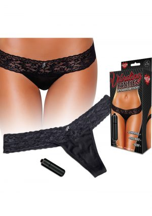 Hustler Toys Vibrating Panties Lace Thong With Hidden Vibe Pocket Black Medium/Large