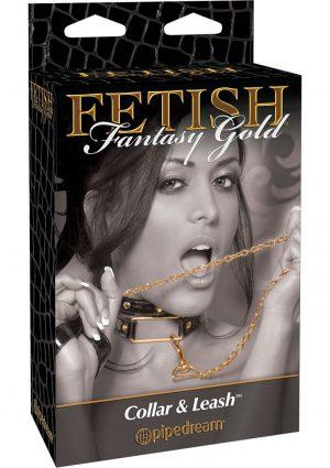 Fetish Fantasy Gold Collar and Leash Black/Gold