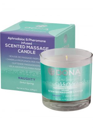 Dona Aphrodisiac and Pheromone Infused Scented Massage Candle Naughty Sinful Spring 4.75 Ounce