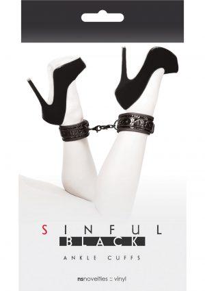 Sinful Vinyl Ankle Cuffs Black