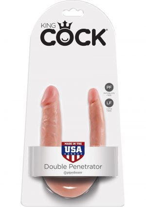 King Cock U-Shaped Small Double Trouble Dildo Flesh