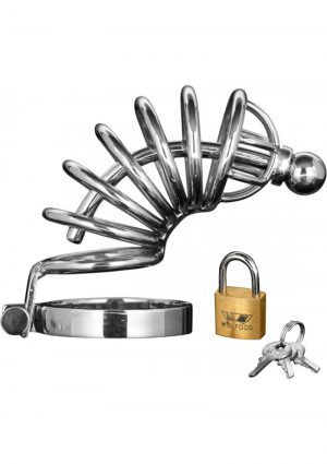 Master Series Asylum 6 Ring Locking Stainless Steel Chastity Cage Metal 6 Inch