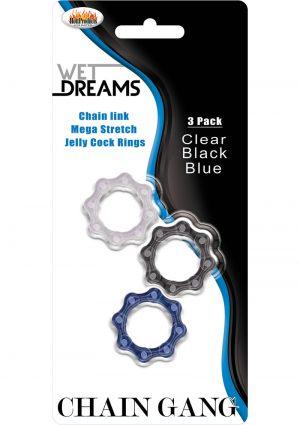 Wet Dreams Chain Gang Cockrings 3 Each Per Pack
