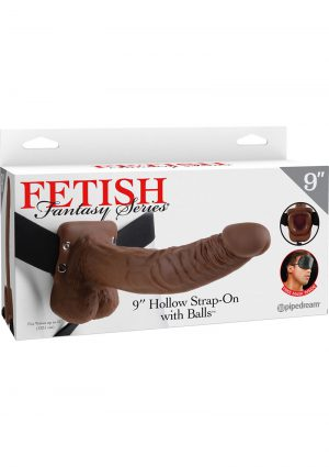 Fetish Fantasy Series Vibrating Hollow Strap On With Balls Brown 9 Inch