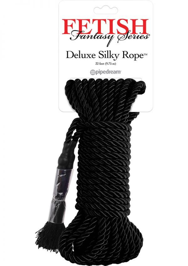 Festish Fantasy Series Deluxe Silk Rope Black 32 Feet