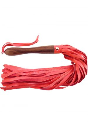 Rouge Wooden Handle Leather Flogger Red