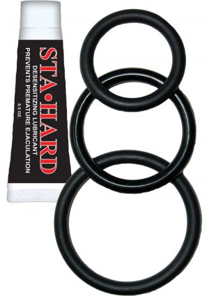 Super Silicone Cock Kit 3 Each Cockrings And Sta Hard Black