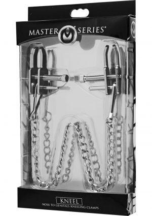 Master Series Kneel Nose to Genitals Kneeling Clamps Metal14 Inch