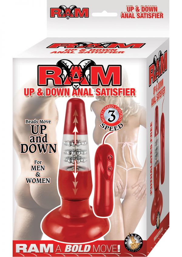 Ram Up and Down Anal Satisfier Wired Remote Anal Plug Waterproof Red 7.5 Inch