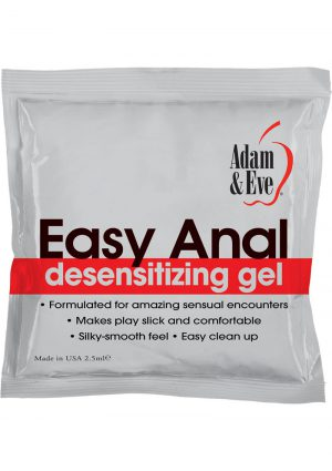 Adam and Eve Easy Anal Desensitizing Gel 2.5 Milliliters Per Foil Pack 72 Foils Per Bag