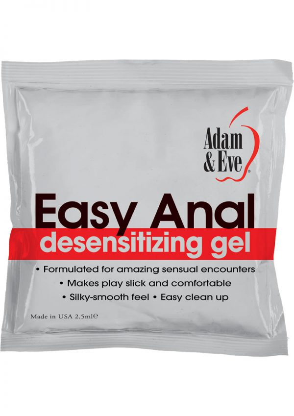 Adam and Eve Easy Anal Desensitizing Gel 2.5 Milliliters Per Foil Pack 72 Foils Per Bag