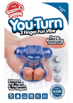 Screaming O You Turn 2 Finger Vibe Silicone Ring Waterproof Blueberry