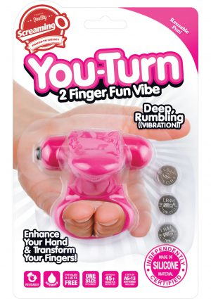 Screaming O You Turn 2 Finger Vibe Silicone Ring Waterproof Strawberry