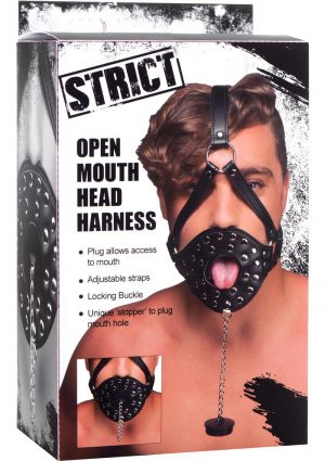 Strict Open Mouth Head Harness Leather and Metal Black