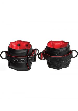 Kink Leather Wrist Restraints Padded Red And Black