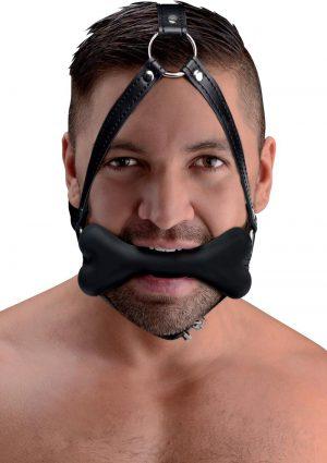 Master Series Hound Bone Silicone Gag Head Harness Black