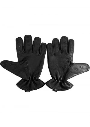 Rouge Leather Vampire Gloves Black Small