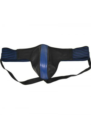 Rouge Leather Jock Strap With Stripes Blue And Black Small