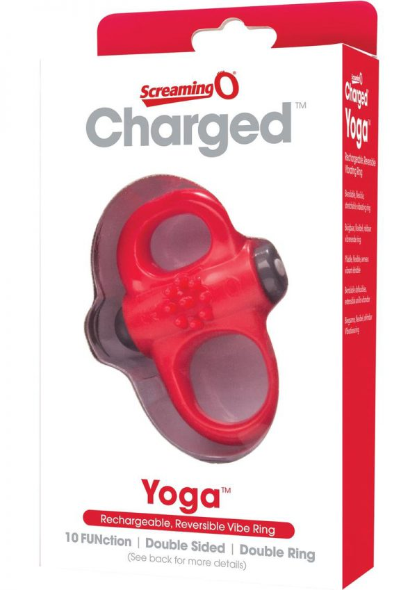 Charged Yoga Rechargeable Silicone Waterproof Cock Ring Red