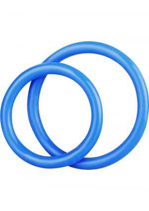 CandB Gear Silicone Cock Ring Set Blue 2 Each Per Set