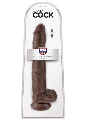 King Cock Realistic Dildo With Balls Brown 14 Inch