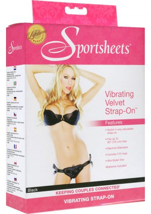 Vibrating Velvet Strap-On Harness Black